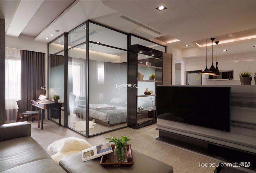 客厅咖啡色书桌现代风格装潢效果图
