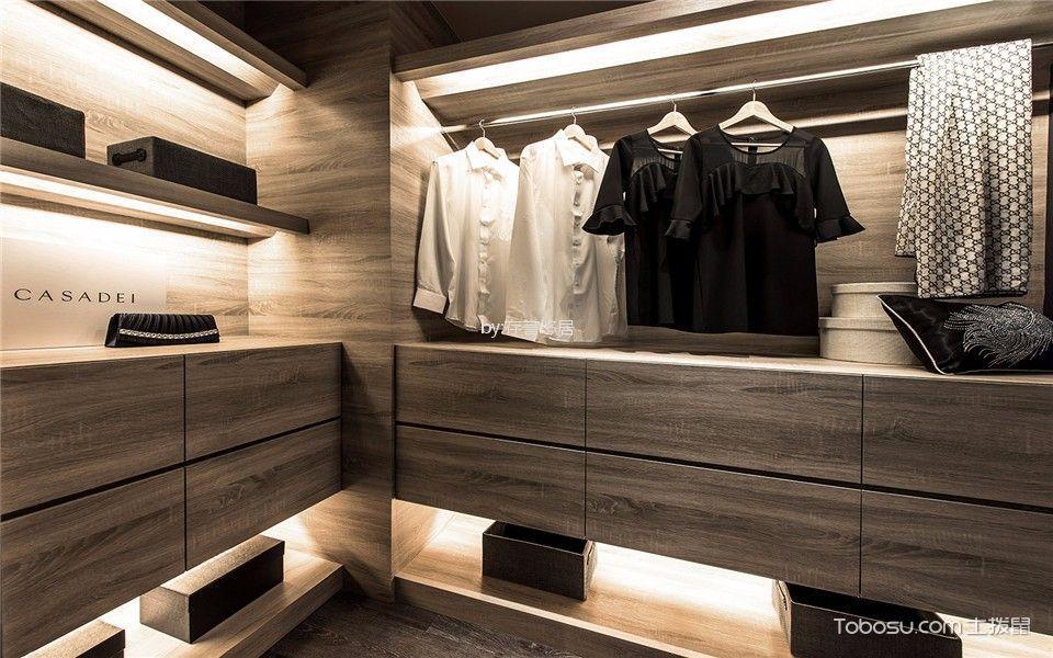 衣帽间咖啡色衣柜现代风格效果图