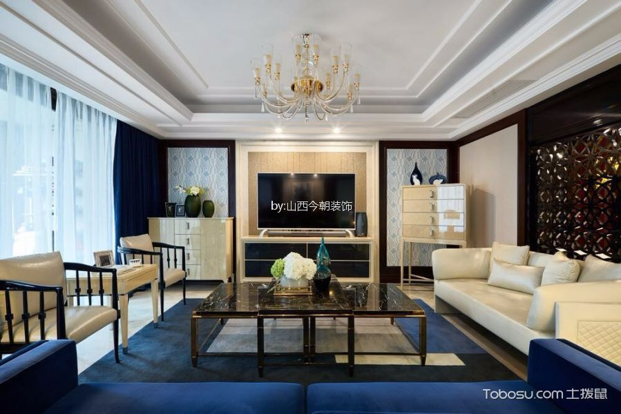 客厅蓝色窗帘混搭风格装修设计图片