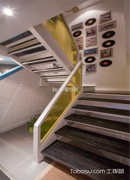 客厅灰色楼梯混搭风格装潢设计图片
