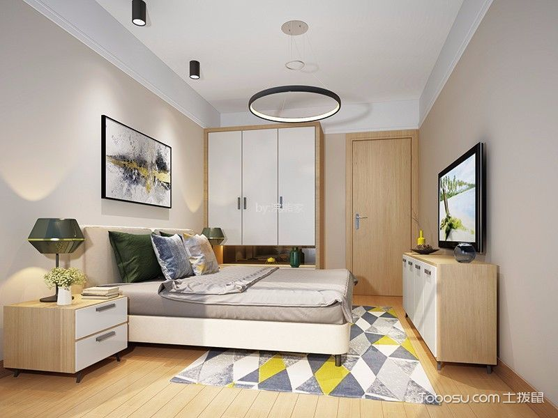 卧室白色衣柜简约风格装修设计图片