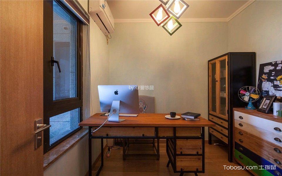 书房咖啡色书桌混搭风格装饰设计图片