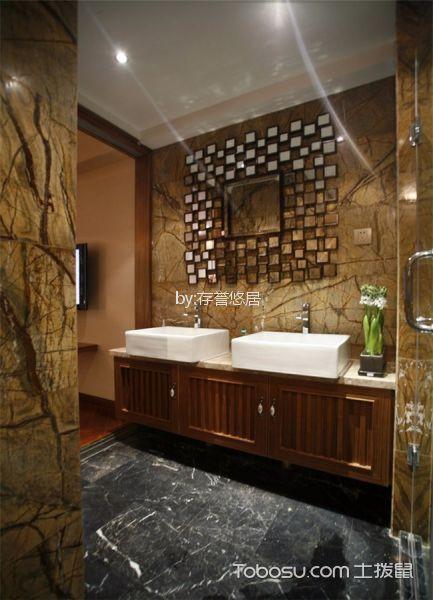 卫生间白色洗漱台东南亚风格装饰设计图片