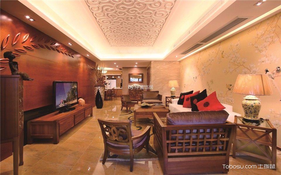 客厅 吊顶_常发香堤半岛160平方新中式风格装修效果图