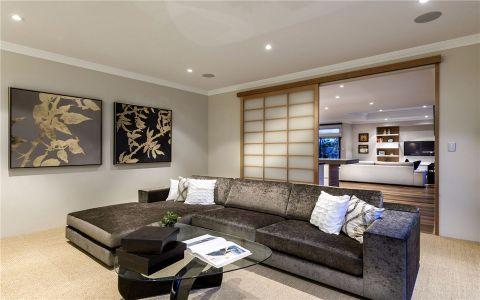 起居室咖啡色推拉门现代简约风格装修效果图