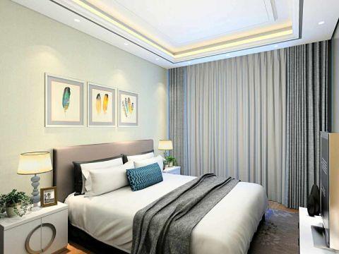 卧室白色床现代简约风格装修图片