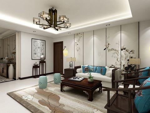 客厅白色沙发新中式风格装饰设计图片