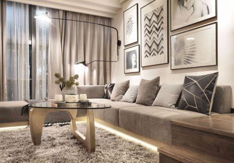 客厅米色窗帘北欧风格装饰效果图