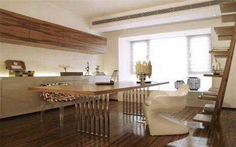 书房咖啡色书桌现代风格装潢设计图片