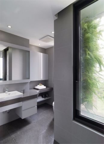 卫生间灰色地砖现代风格装饰图片