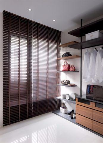 衣帽间咖啡色窗帘现代风格装潢图片