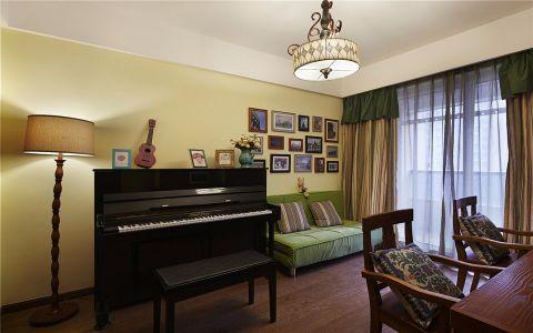 书房绿色沙发混搭风格装饰图片