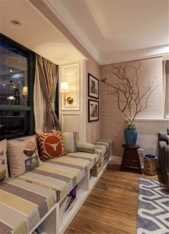 客厅米色飘窗混搭风格装修设计图片