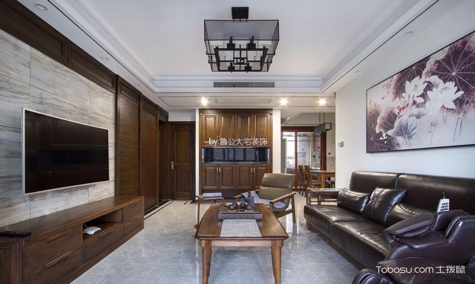 聚福家园105平新中式风格三居室装修效果图