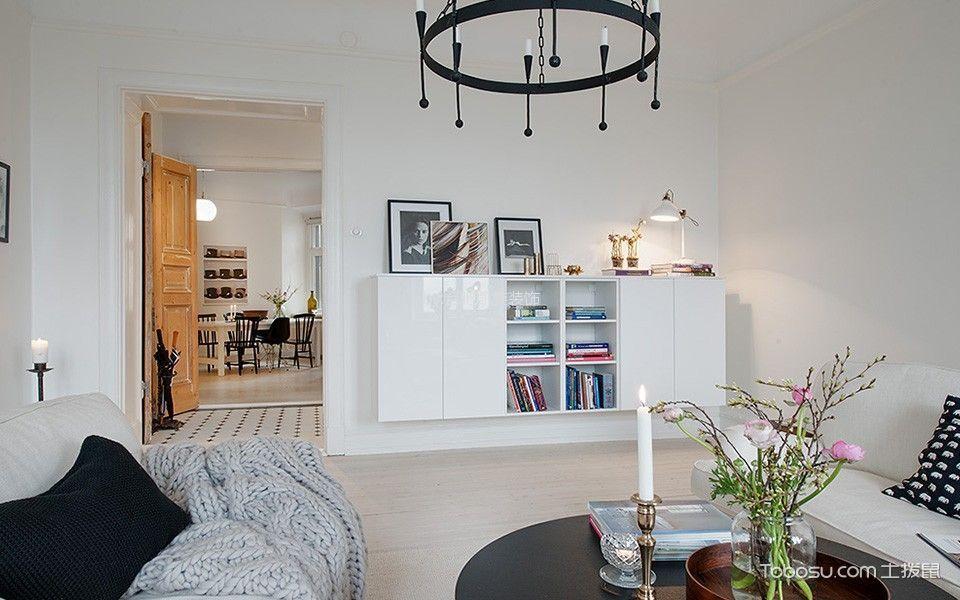 客厅白色背景墙北欧风格装潢设计图片