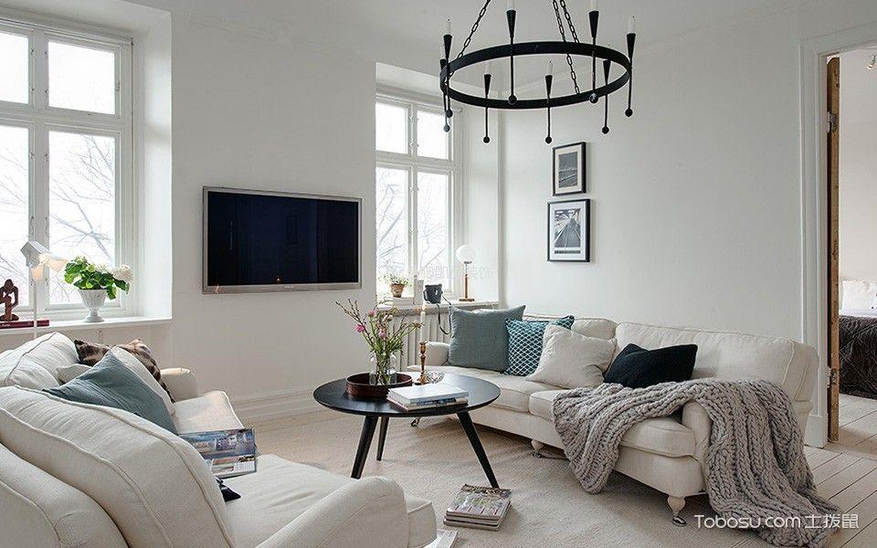客厅白色窗台北欧风格装饰效果图