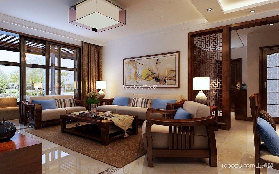 滨河果岭140平新中式风格三居室装修效果图