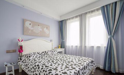 儿童房蓝色窗帘新中式风格装饰图片