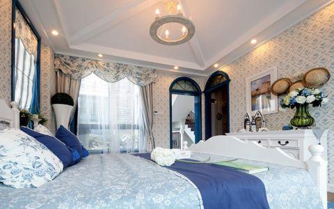 质感地中海蓝色床装饰图