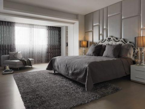 完美简约灰色床装潢实景图