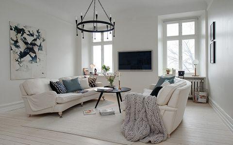 客厅白色沙发北欧风格效果图