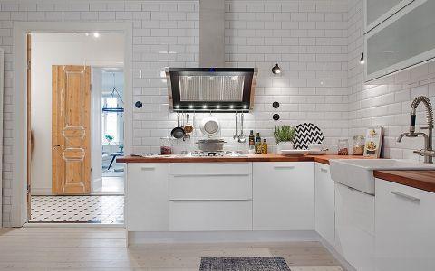 厨房白色橱柜北欧风格装修效果图