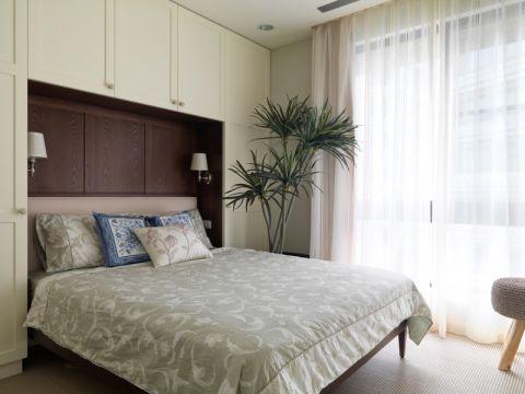 卧室白色窗帘简约风格装饰设计图片