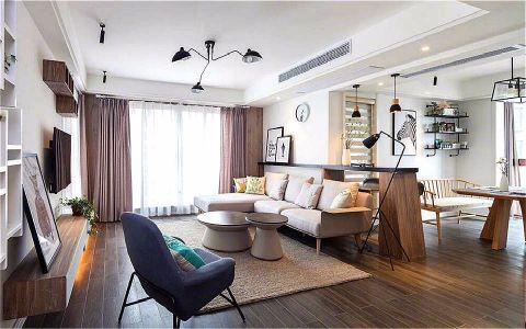 客厅咖啡色窗帘北欧风格装潢设计图片