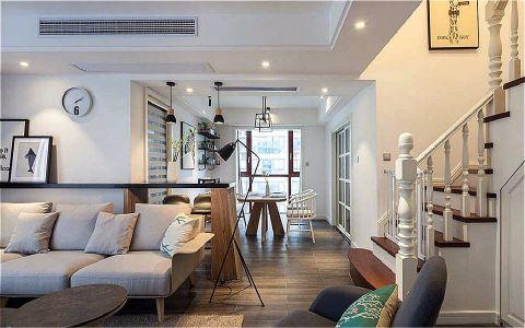 客厅咖啡色楼梯北欧风格装修效果图