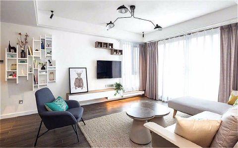 客厅米色博古架北欧风格装修图片