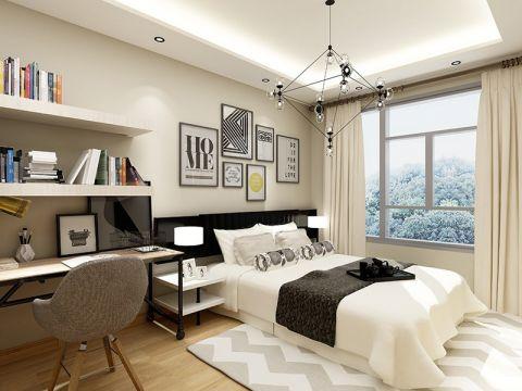 卧室米色窗帘效果图