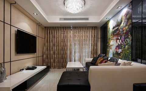 客厅黄色窗帘现代风格装饰图片