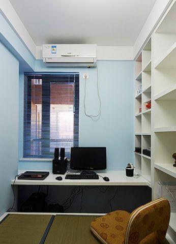 书房白色书桌现代风格装修设计图片