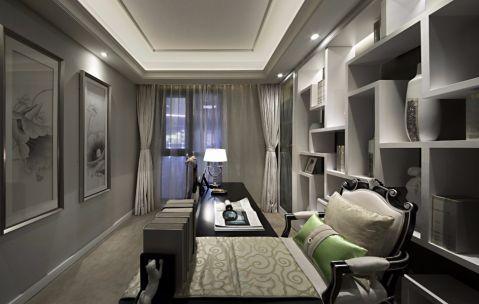 书房白色博古架现代简约风格装饰效果图