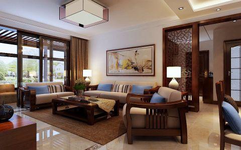 客厅红色背景墙新中式风格装潢效果图