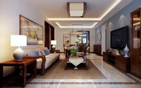 客厅灰色吊顶新中式风格装饰图片