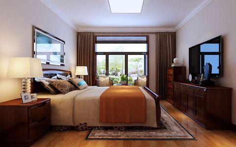 卧室咖啡色窗帘新中式风格装修设计图片