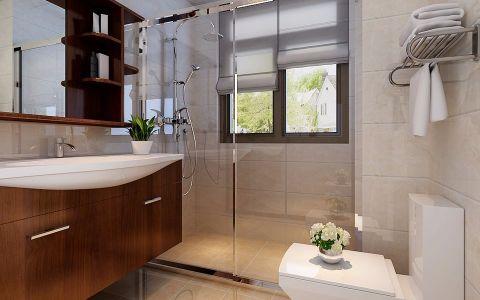卫生间米色隔断新中式风格装潢设计图片