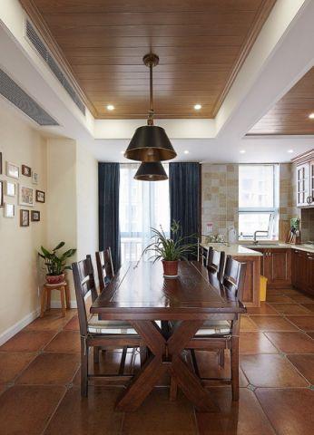 餐厅咖啡色吊顶美式风格效果图