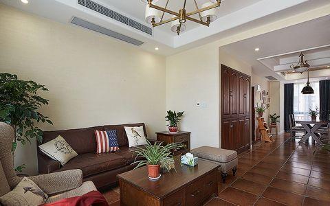 客厅咖啡色沙发美式风格装修效果图