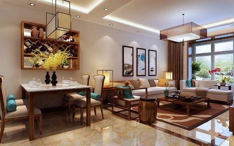 智诚131平中式风格三居室装修效果图