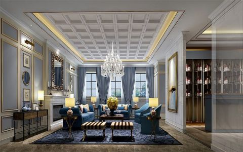 美式风格效果120平美式三居室装修效果图