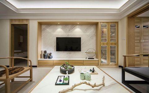 客厅背景墙中式古典风格装潢设计图片