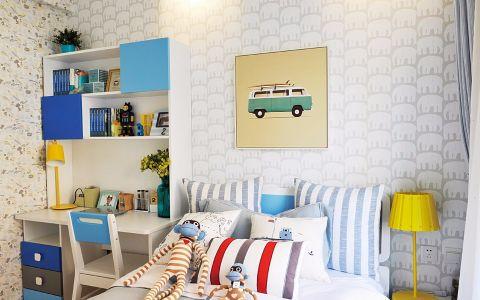 儿童房背景墙简约风格装潢效果图