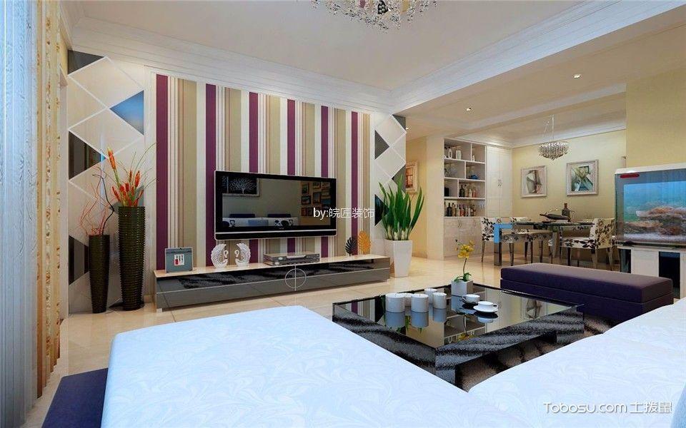 客厅彩色背景墙现代简约风格装饰设计图片