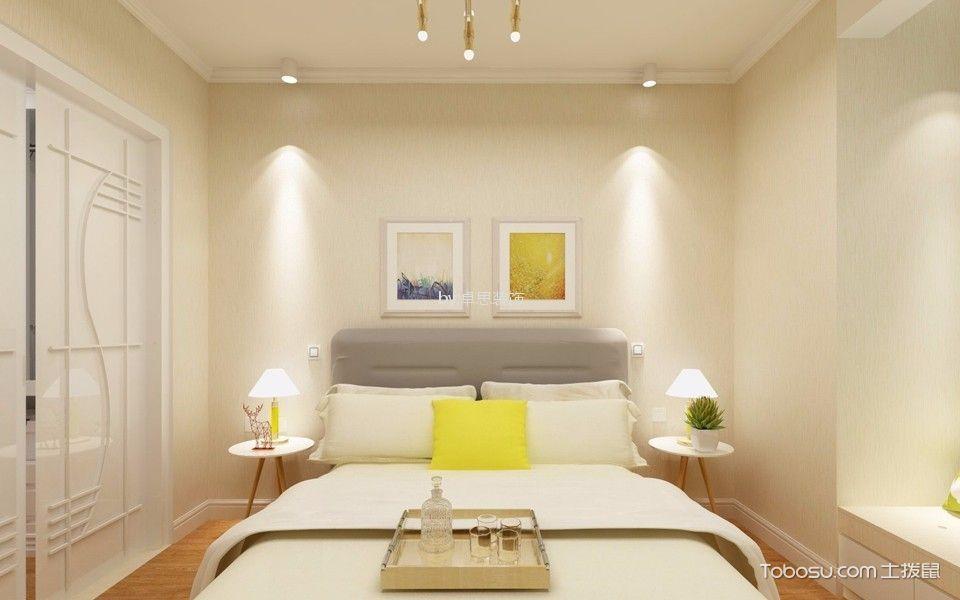卧室米色背景墙北欧风格装修效果图