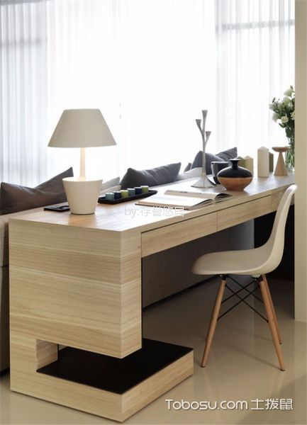 客厅米色书桌现代风格装潢图片