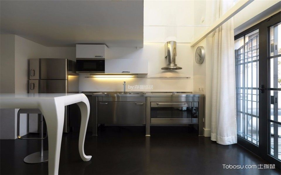 厨房白色餐桌现代风格装潢设计图片