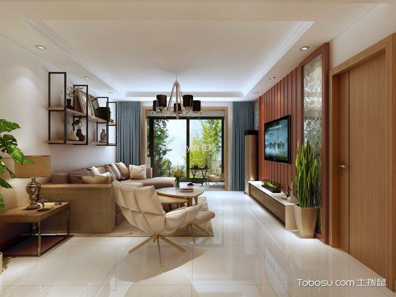 110平中式风格二居室装修效果图