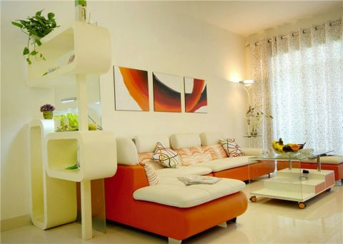 客厅白色窗帘现代风格装修图片